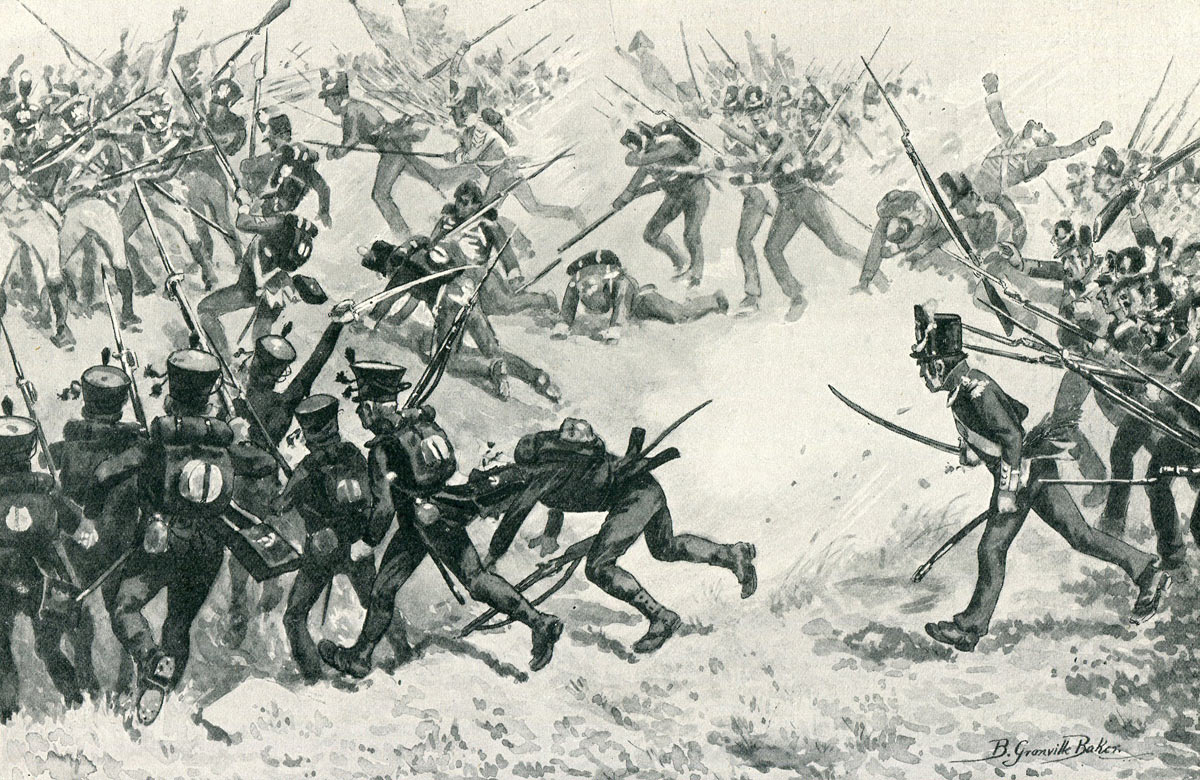 Attack of the British infantry at the Battle of Barossa on 5th March 1811 in the Peninsular War: picture by B. Granville Baker