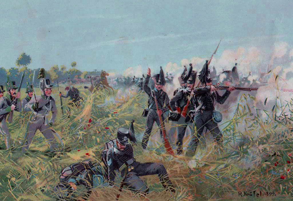 Brunswickers at the Battle of Quatre Bras on 16th June 1815 during the Napoleonic Wars: buy this picture
