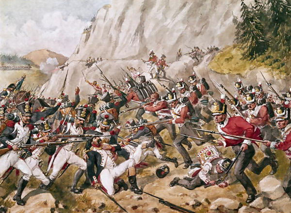 43rd and 52nd Light Infantry attack Loisin's Division at the Battle of Busaco on 27th September 1810 in the Peninsular: picture by Richard Simkin: buy this picture