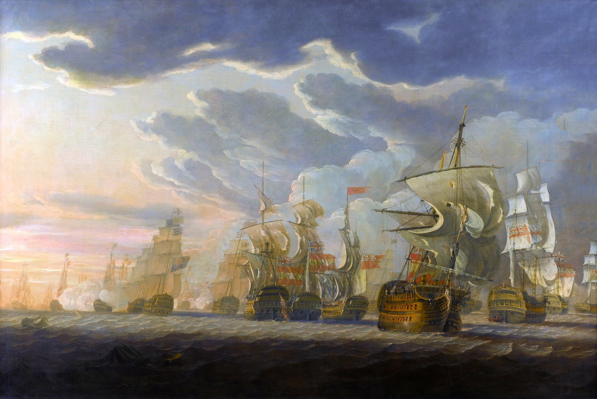 Spanish ships San Josef and San Nicolas flying the Union Jack after surrendering to HMS Captain at the Battle of Cape St Vincent on 14th February 1797 in the Napoleonic Wars: picture by Robert Clevely