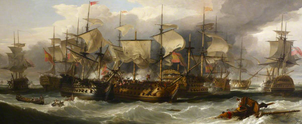 HMS Captain alongside San Nicholas and San Josef at the Battle of Cape St Vincent on 14th February 1797 in the Napoleonic Wars: picture by William Allan: buy this picture