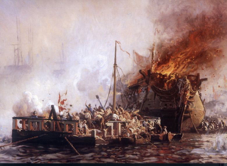 Danish floating battery and ship of the line under fire at the Battle of Copenhagen on 2nd April 1801 in the Napoleonic Wars