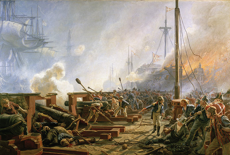Lieutenant Willemoes of the Royal Danish Navy fights his ship Gerner Radeau during the Battle of Copenhagen on 2nd April 1801 in the Napoleonic Wars: picture by Christian Mølsted