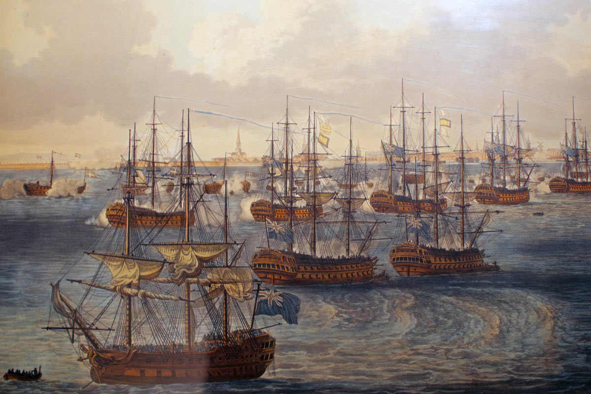Battle of Copenhagen on 2nd April 1801 in the Napoleonic Wars: picture by Nicholas Pocock