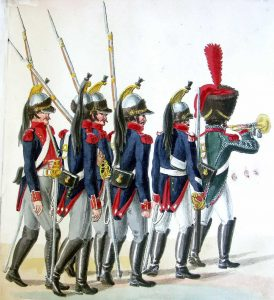 Cuirassiers and Trumpeter of the 1st Cuirassier Regiment: Battle of Waterloo on 18th June 1815: picture by Suhrs