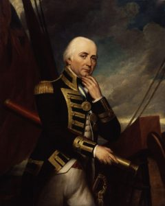 Vice Admiral Cuthbert Collingwood commander of the British Leeward Squadron at the Battle of Trafalgar on 21st October 1805 during the Napoleonic Wars: picture by Henry Howard: buy this picture