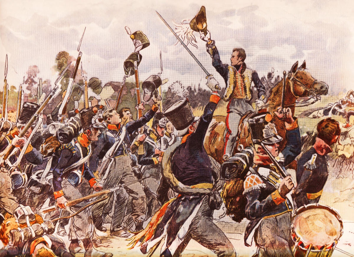 Prince of Orange rallying Dutch Militia at the Battle of Quatre Bras on 16th June 1815 during the Napoleonic Wars: buy a picture of the Prince of Orange at the Battle of Quatre Bras