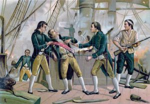 Death of the Spanish Admiral Gravina aboard Prince de Asturias at the Battle of Trafalgar on 21st October 1805 during the Napoleonic Wars: buy this picture