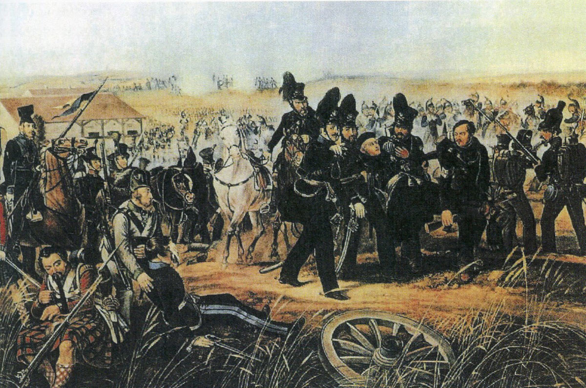 The Duke of Brunswick is conveyed fatally injured from the field of the Battle of Quatre Bras on 16th June 1815