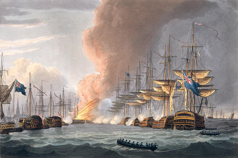 Destruction of the Danish Fleet at the Battle of Copenhagen on 2nd April 1801 in the Napoleonic Wars: picture by Thomas Whitcombe: buy a picture of the destruction of the Danish Fleet