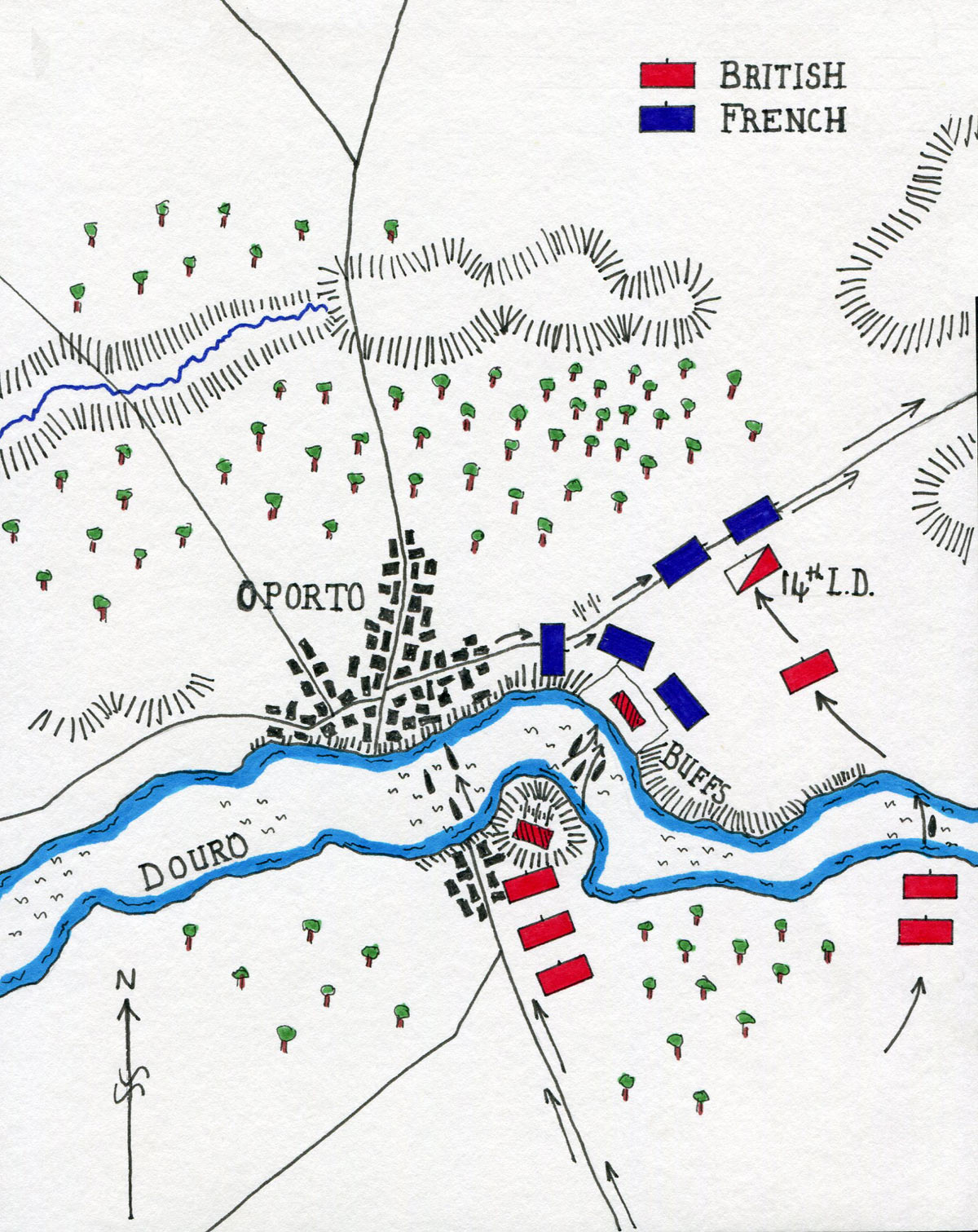 Map of the Battle of the Crossing of the Douro on 16th May 1809 in the Peninsular War: map by John Fawkes