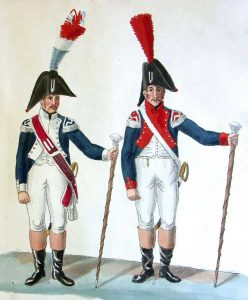 Drum Majors from the 4th and 2nd of the Line : Battle of Waterloo on 18th June 1815: picture by Suhrs