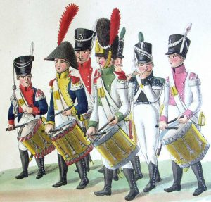 Drummers and Fifers from various French Infantry Regiments: Battle of Waterloo on 18th June 1815: picture by Suhrs