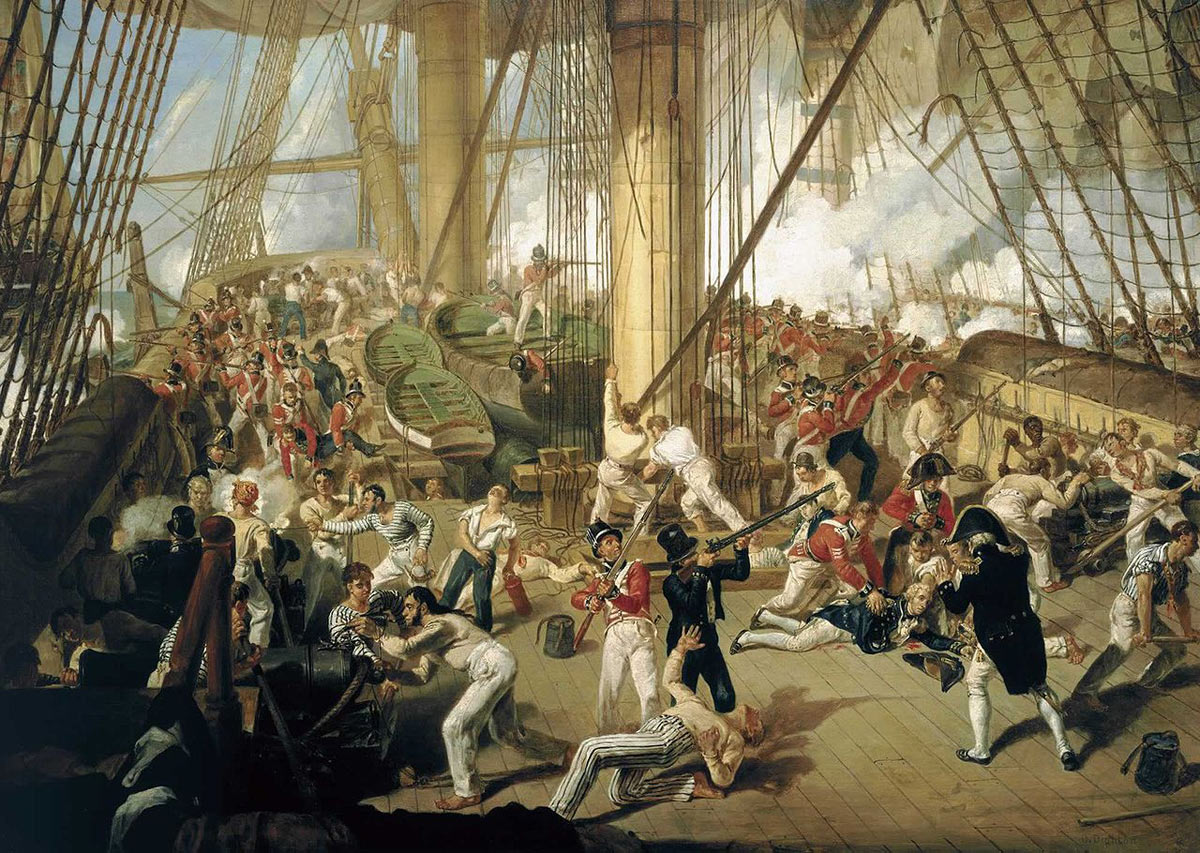 'Fall of Nelson' at the Battle of Trafalgar on 21st October 1805 during the Napoleonic Wars: picture by Denis Dighton: buy a picture of the 'Fall of Nelson' by Benjamin West