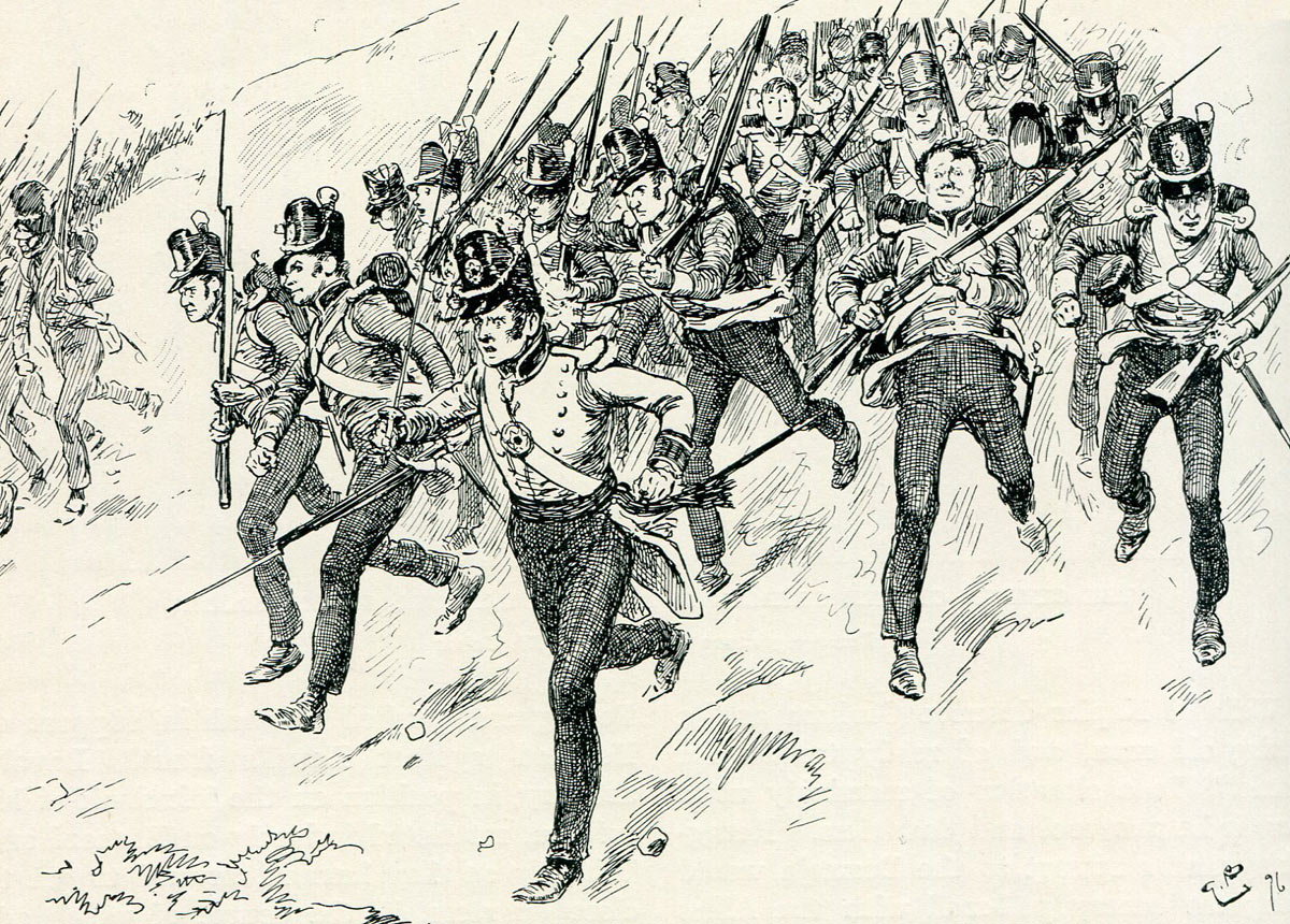 Attack of the British Foot Guards at the Battle of Barossa on 5th March 1811 in the Peninsular War: picture by Gordon Browne