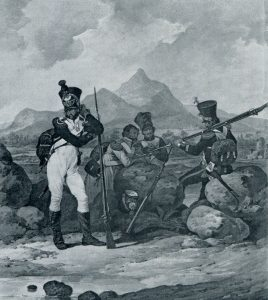 French infantrymen: Battle of Barossa on 5th March 1811 in the Peninsular War: picture by Denis Dighton