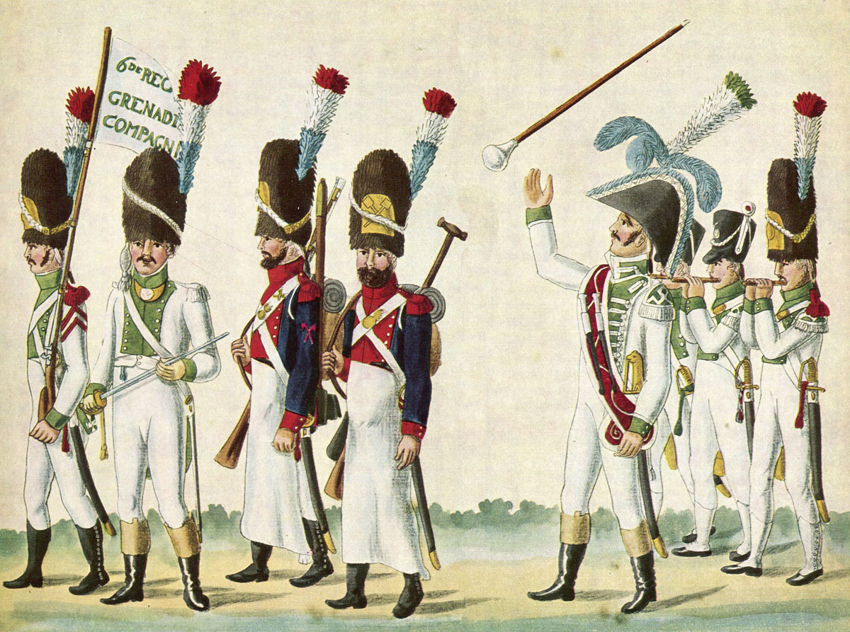 French Grenadiers, Pioneers, Drum Major and Fifers of 6th Regiment of Infantry: Battle of Busaco on 27th September 1810 in the Peninsular