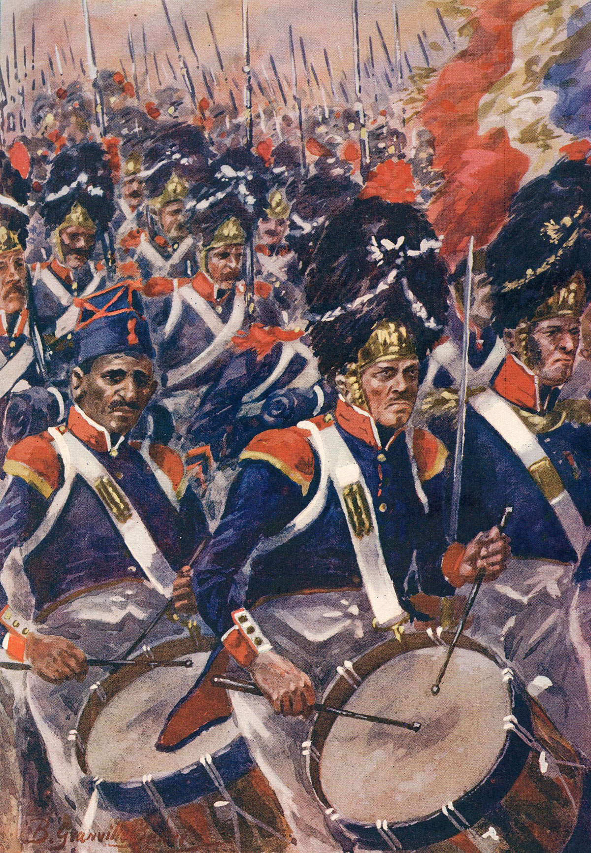 French infantry column attacking at the Battle of Barossa on 5th March 1811 in the Peninsular War: picture by R. Granville Baker