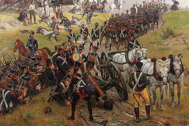 French troops advancing towards Ligny: Battle of Quatre Bras on 16th June 1815: picture by Ernest Crofts