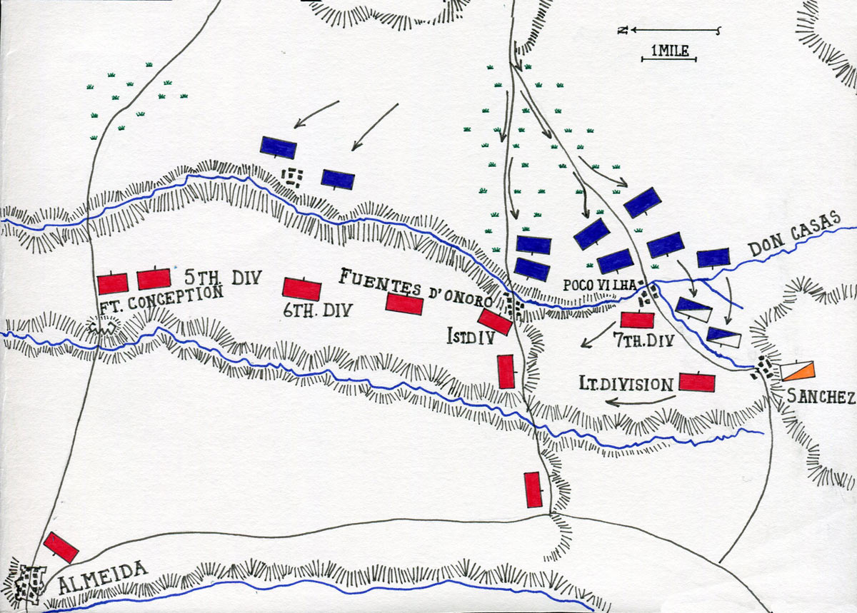 Map of the Battle of Fuentes de Oñoro 3rd to 5th May 1811 in the Peninsular War: map by John Fawkes
