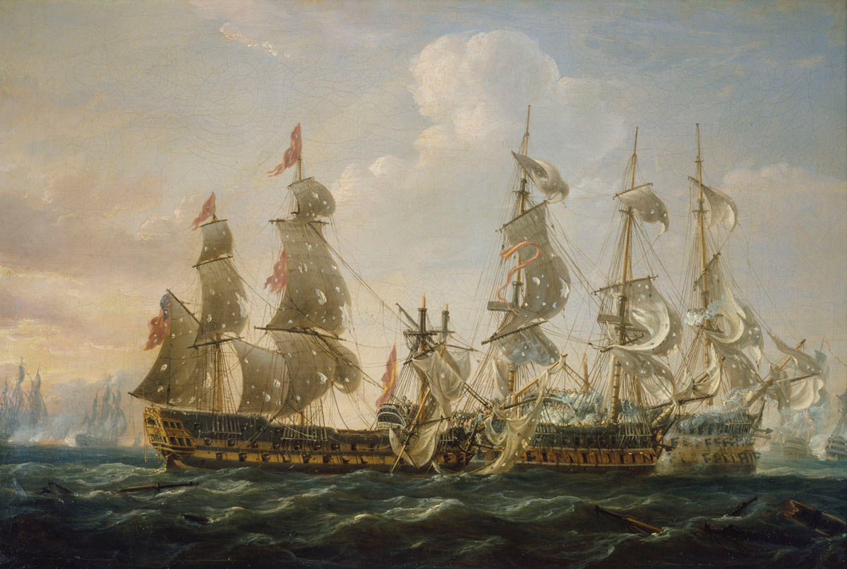 HMS Captain attacking the San Nicolas and the San Josef at the Battle of Cape St Vincent on 14th February 1797 in the Napoleonic Wars: buy a picture of the Battle of Cape St Vincent