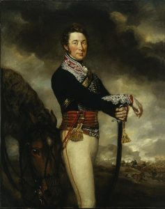 Captain Peter Hawker 14th King's Light Dragoons wounded at the Battle of the Crossing of the Douro on 16th May 1809 in the Peninsular War: picture by James Northcote