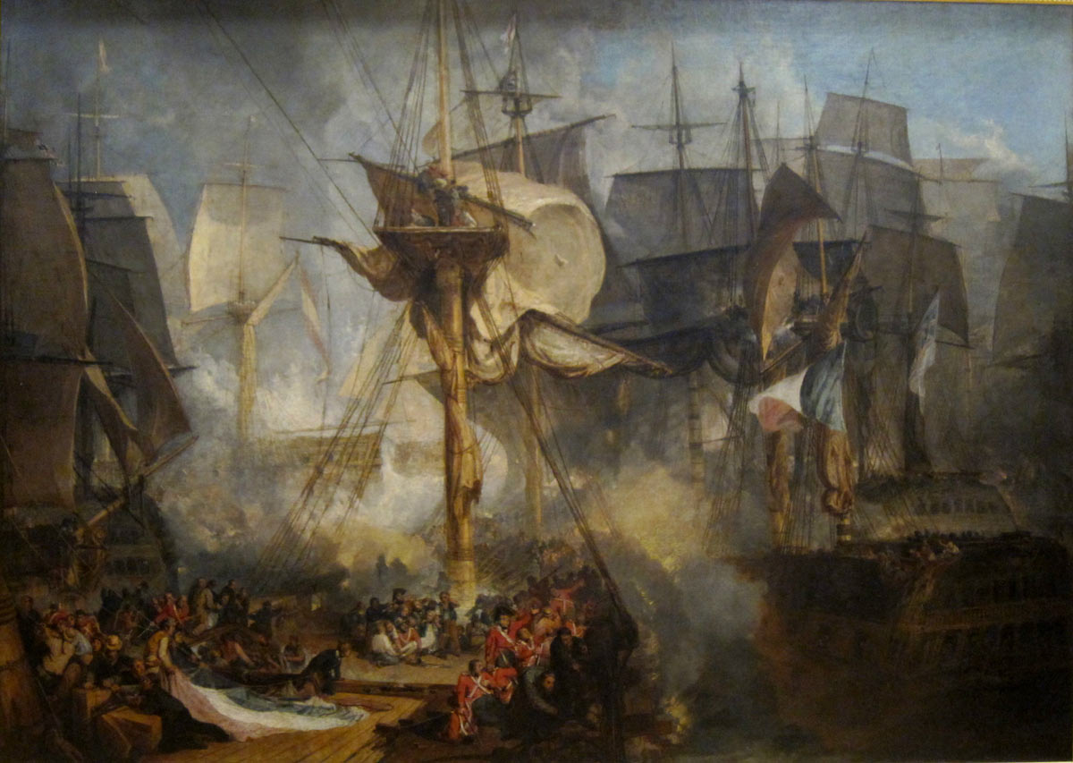 View from HMS Victory's Mizzen Starboard Shrouds at the Battle of Trafalgar on 21st October 1805 during the Napoleonic Wars: picture by Joseph Mallord William Turner: buy this picture