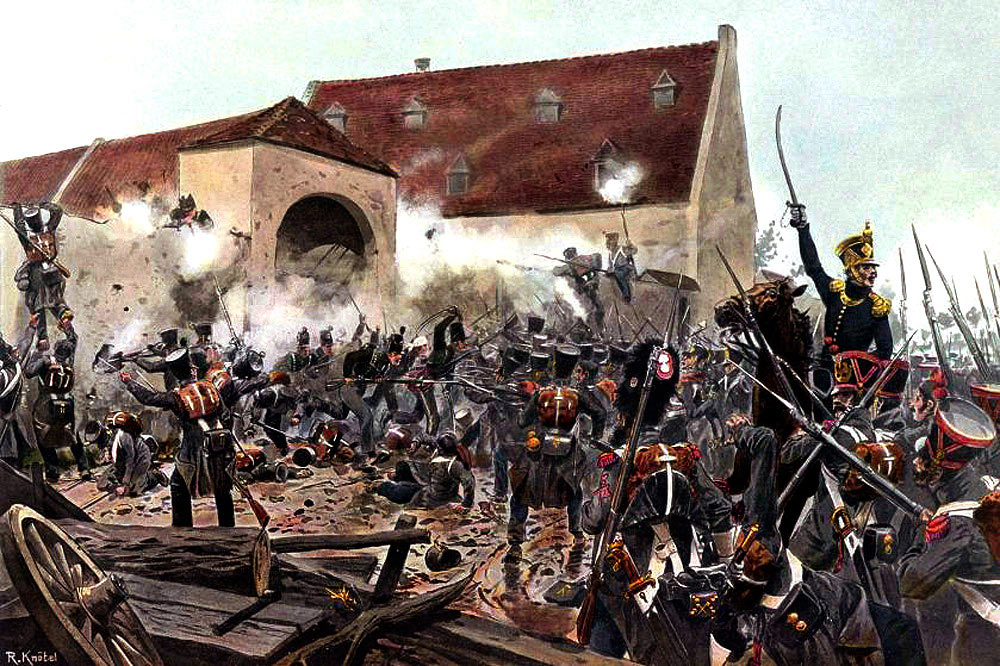 The storming of La Haye Sainte at the Battle of Waterloo on 18th June 1815: picture by Richard Knötel