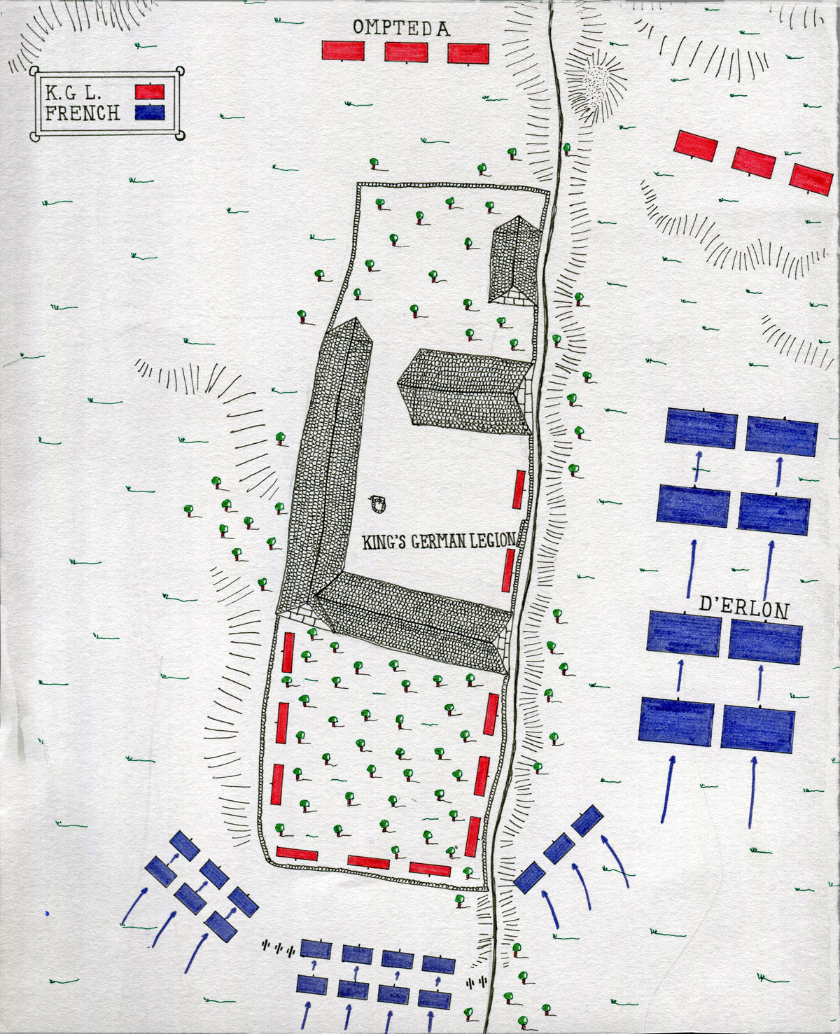 Map of La Haye Sainte Farm at the Battle of Waterloo on 18th June 1815: map by John Fawkes
