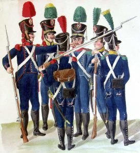 French Light Infantry: Battle of Waterloo on 18th June 1815: picture by Suhrs