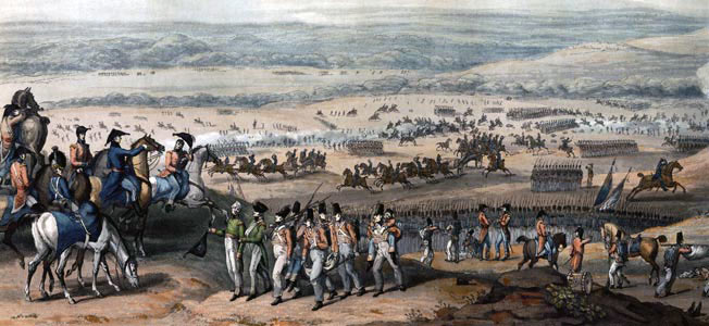 British 7th Division withdrawing to the ridge at the Battle of Fuentes de Oñoro 3rd to 5th May 1811 in the Peninsular War: picture by William Heath