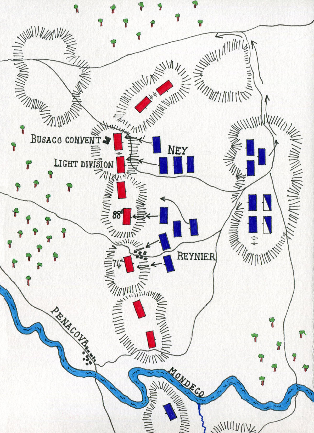 Map of the Battle of Busaco on 27th September 1810 in the Peninsular: map by John Fawkes