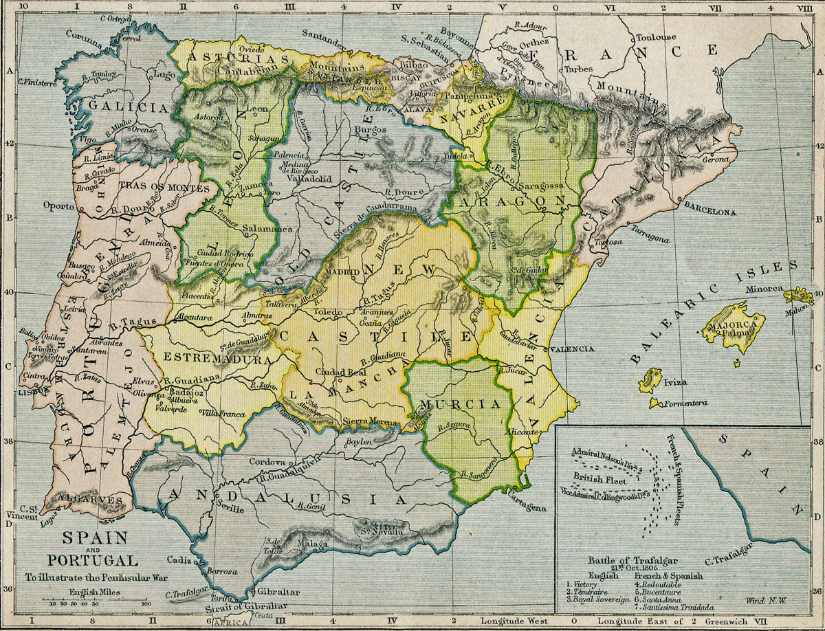 Map of Spain and Portugal during the Peninsular War 1808 to 1814
