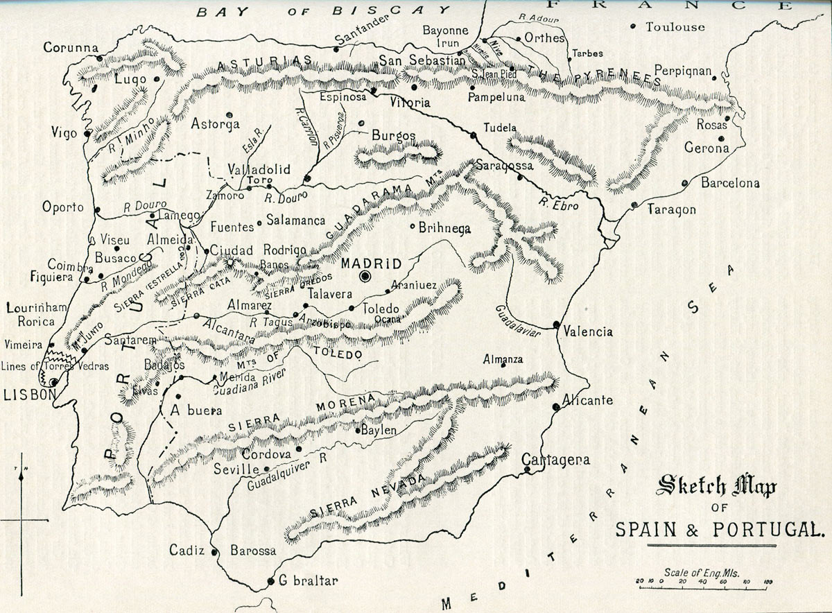 Map of Spain during the Peninsular War 1808 to 1814
