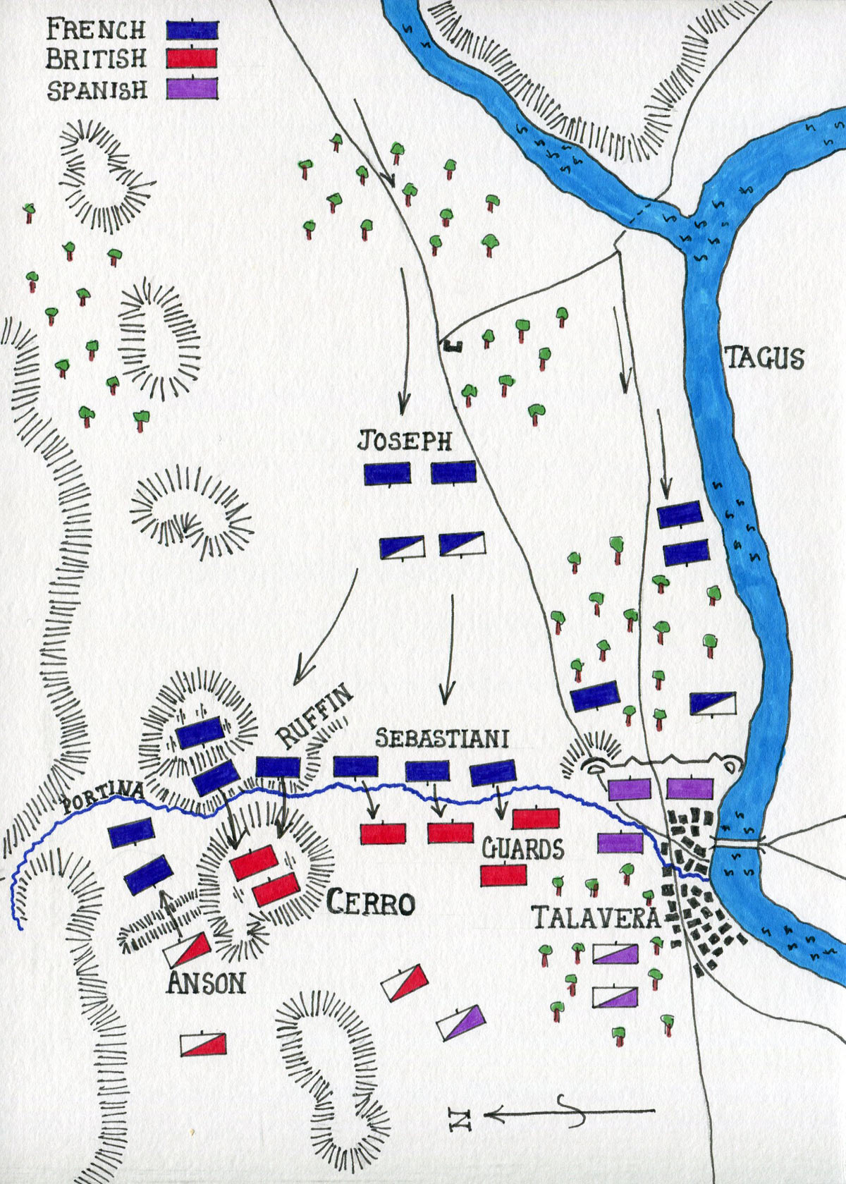 Map of the Battle of Talavera on 28th July 1809 in the Peninsular War: map by John Fawkes