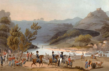 British troops marching through Portugal: Battle of Busaco on 27th September 1810 in the Peninsular War