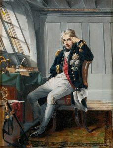 Admiral Lord Nelson before the Battle of Trafalgar on 21st October 1805 during the Napoleonic Wars: buy a picture of Lord Nelson