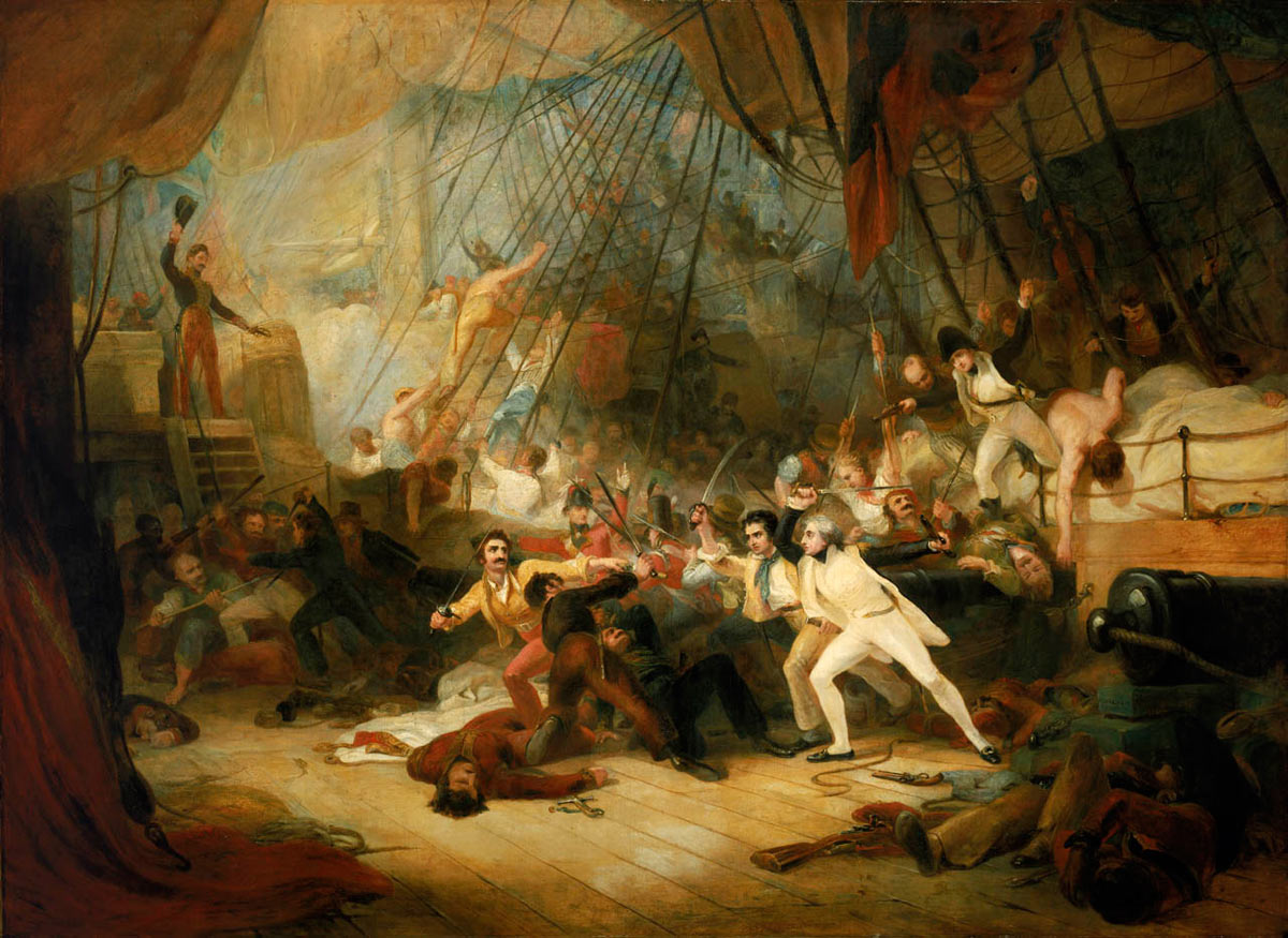 Nelson boarding the San Josef at the Battle of Cape St Vincent on 14th February 1797 in the Napoleonic Wars: picture by George Jones: buy this picture in black and white