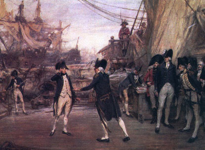 Nelson being greeted by Admiral Jervis after the the Battle of Cape St Vincent on 14th February 1797 in the Napoleonic Wars