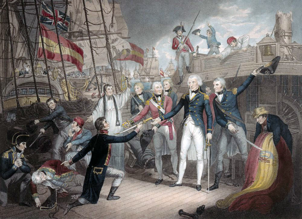 Nelson accepting the surrender of the San Josef at the Battle of Cape St Vincent on 14th February 1797 in the Napoleonic Wars: picture by Daniel Orme: buy this picture in black and white
