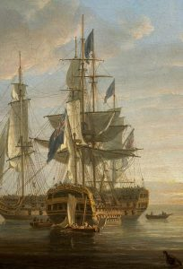 HMS Elephant Admiral Lord Nelson's flagship at the Battle of Copenhagen on 2nd April 1801 in the Napoleonic Wars