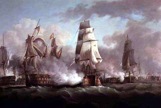 HMS Neptune (centre) engages Santissima Trinidad (left) at the Battle of Trafalgar on 21st October 1805 during the Napoleonic Wars