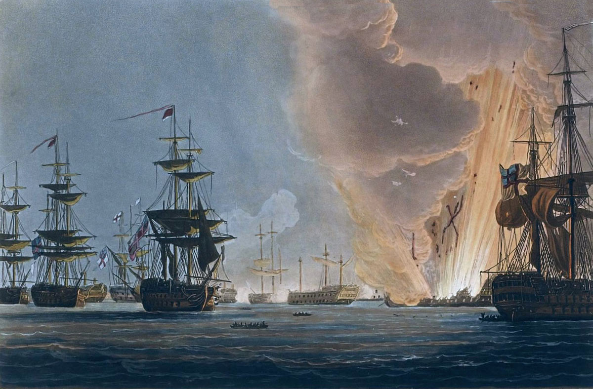 French Flagship L'Orient explodes at the Battle of the Nile on 1st August 1798 in the Napoleonic Wars: picture by Thomas Whitcombe: buy this picture