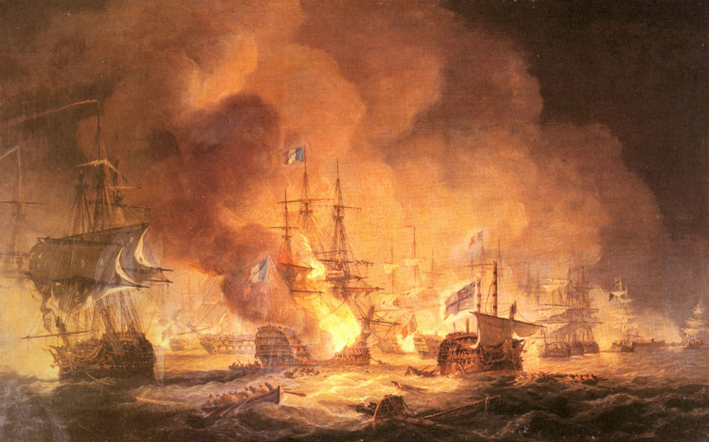 French Flagship L'Orient explodes at the Battle of the Nile on 1st August 1798 in the Napoleonic Wars: picture by Thomas Luny: buy this picture