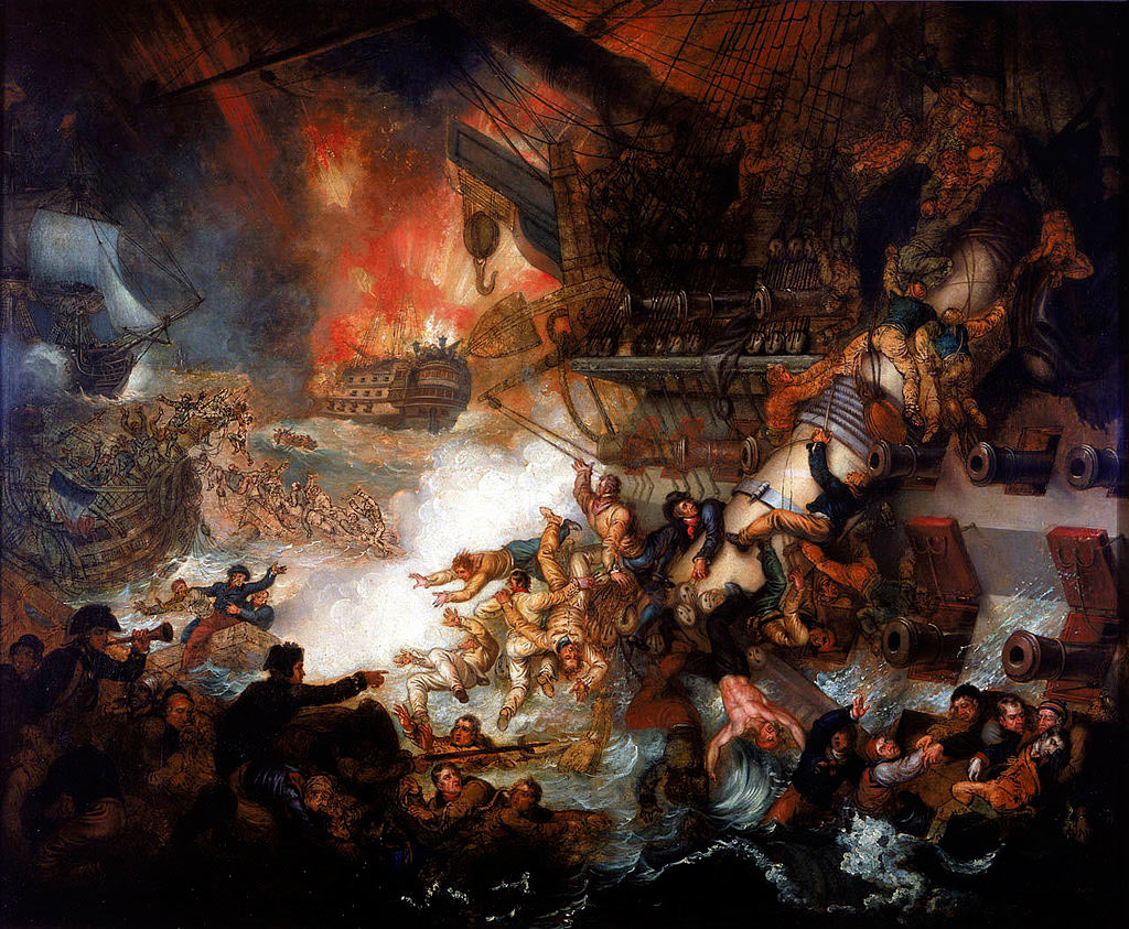 French Flagship L'Orient explodes at the Battle of the Nile on 1st August 1798 in the Napoleonic Wars: picture by Mather Brown
