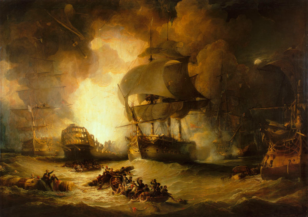 French Flagship L'Orient explodes at 10pm during the Battle of the Nile on 1st August 1798 in the Napoleonic Wars: picture by George Arnald