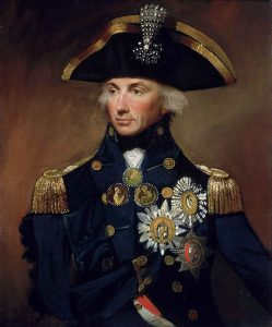 Rear Admiral of the Blue Sir Horatio Nelson British commander at the Battle of the Nile on 1st August 1798 in the Napoleonic Wars: Nelson is wearing the aigrette awarded to him by the Sultan of Turkey following the battle: buy a picture of Lord Nelson