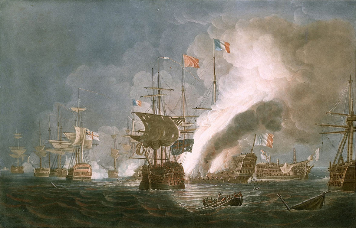 HMS Bellerophon dismasted is on the right, astern of the burning French Flagship L'Orient at the Battle of the Nile on 1st August 1798 in the Napoleonic Wars: picture by Thomas Whitcombe: buy this picture