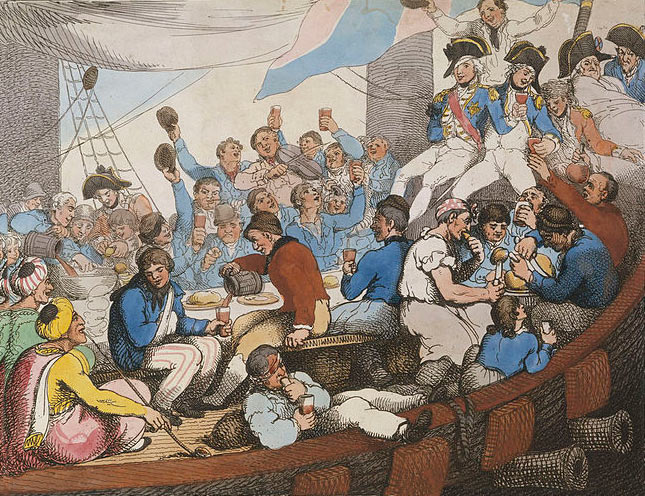 Cartoon of celebrations on HMS Vanguard after the Battle of the Nile on 1st August 1798 in the Napoleonic Wars