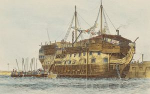 HMS Alexander as a prison hulk in the years after the Napoleonic Wars: Battle of the Nile on 1st August 1798 in the Napoleonic Wars